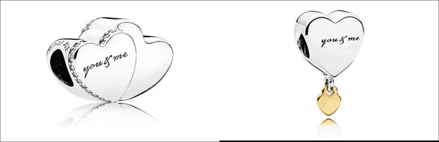 charm deux cœurs bicolore