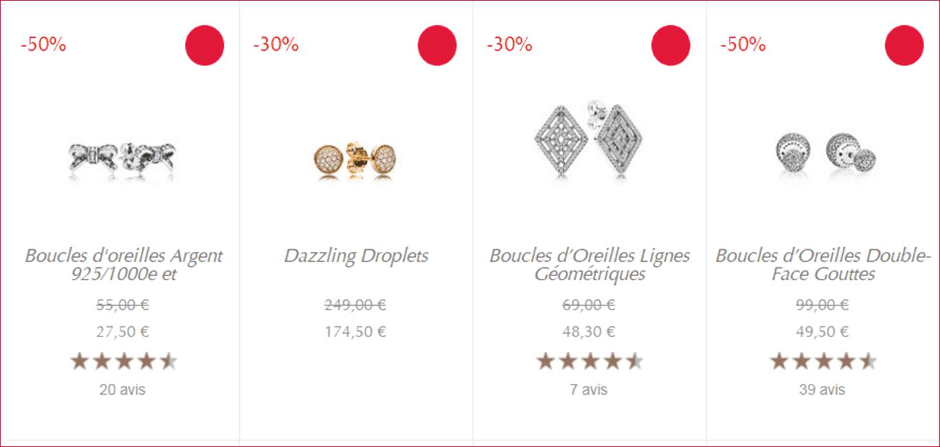 Boucles d'oreilles Pandora Solde Ete 2018