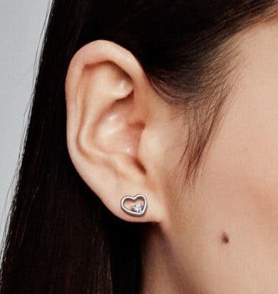 Cœurs Stylisés Clous d'oreilles en Argent 45 € - 297813CZ