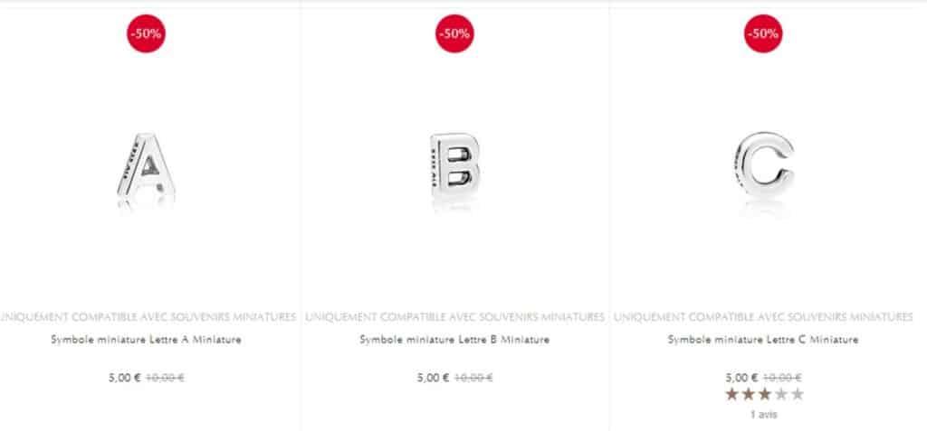 lettre miniature pandora