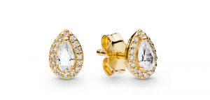 Clous d'oreilles gouttelettes géométriques en Pandora Shine 69€ - 266252CZ