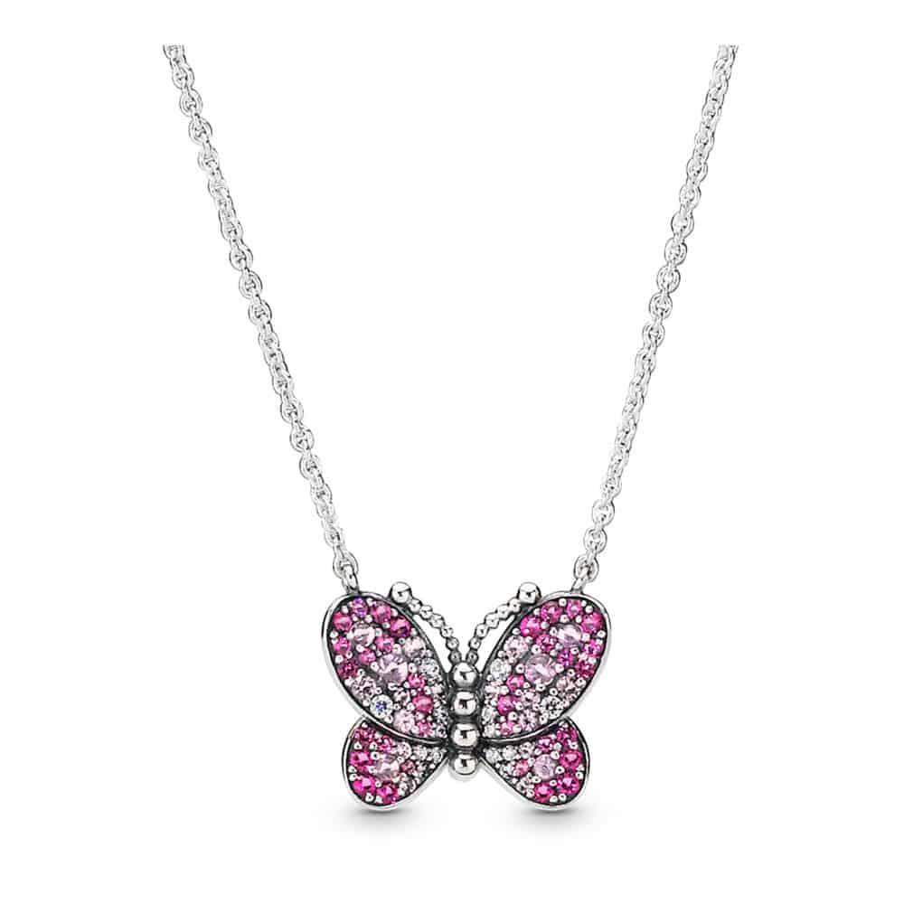 Collier Papillon Rose Éblouissant en Argent 89€ - 397931NCCMX