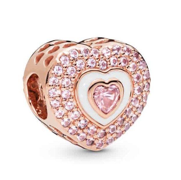 Charm Cœurs en Abîme en Pandora Rose 99€