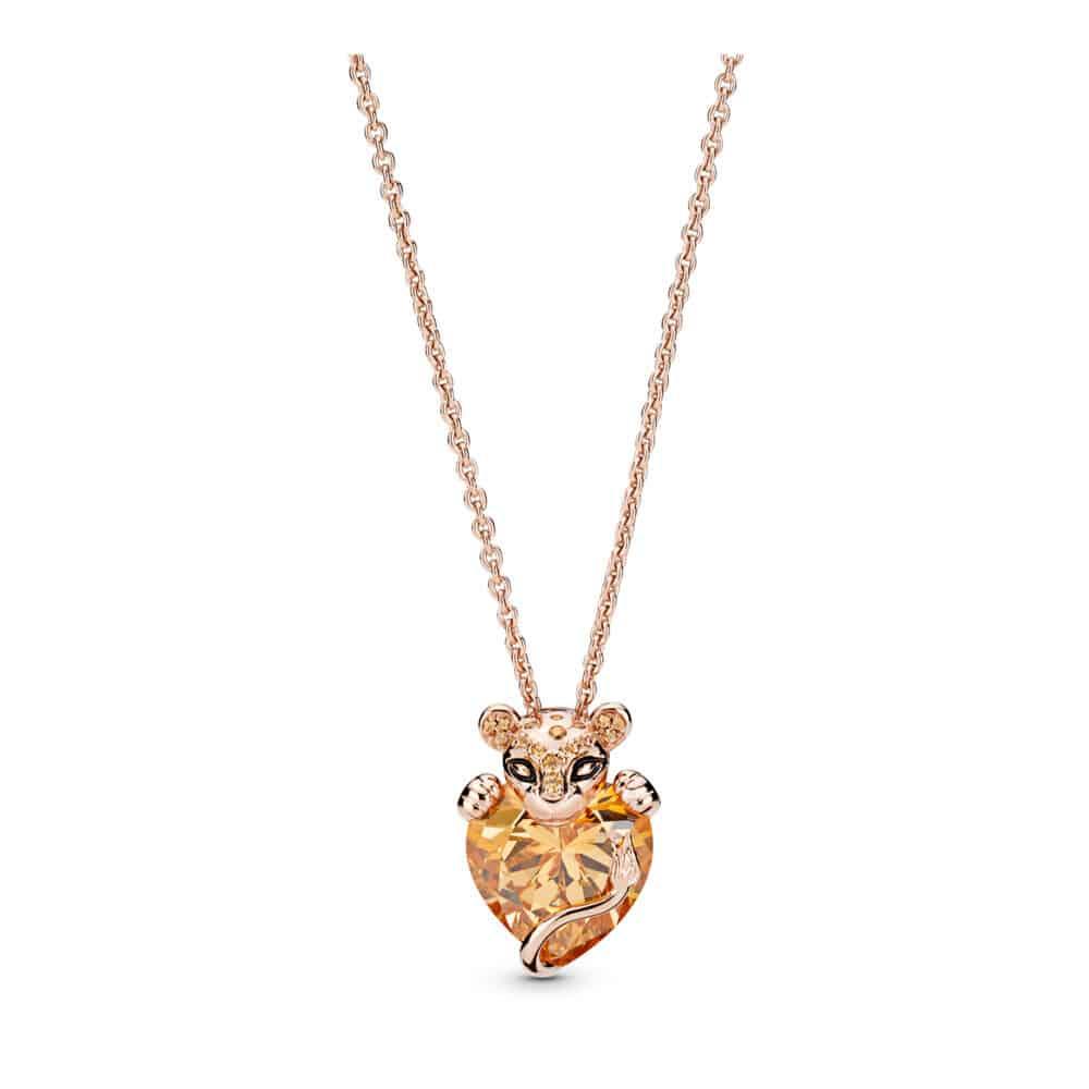 Collier Cœur Princesse Lionne Scintillant en Pandora Rose 199€