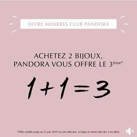 [OFFRE TERMINÉE] Offre exclusive membre club Pandora : 1+1 = 3