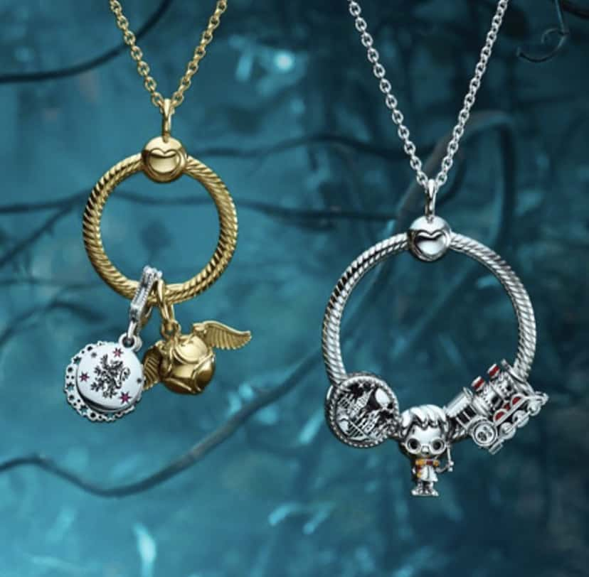 Avec le médaillon : Photo de la collection Harry Potter Pandora