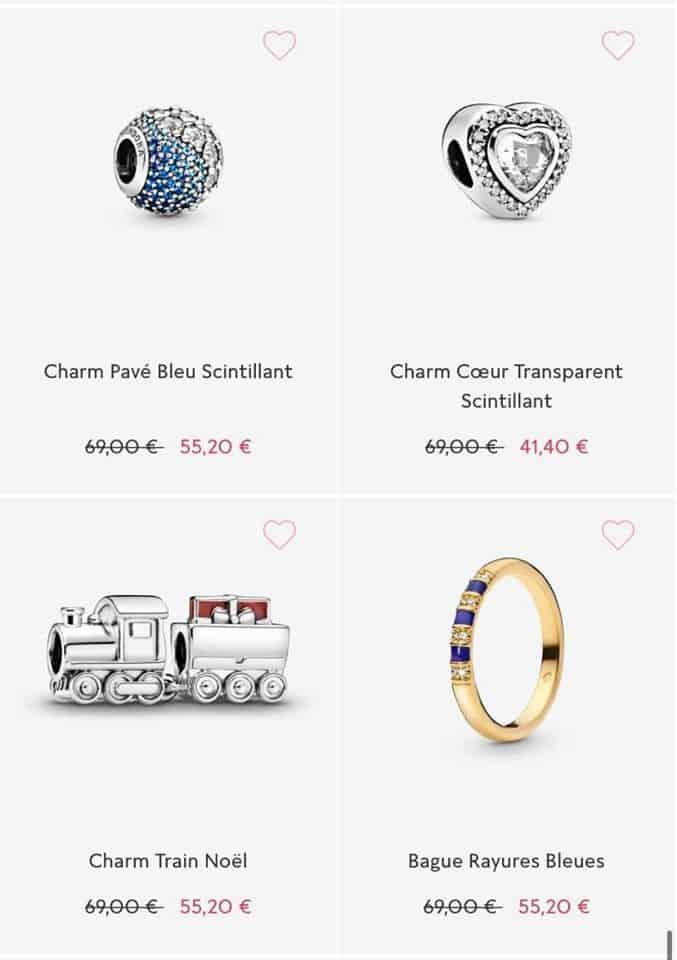 Charms et bague soldes Pandora 2020