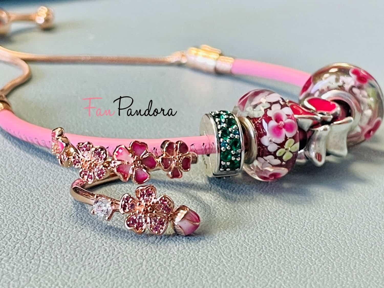 Bague fleur de pêcher et Bracelet cuir rose - Première Commande