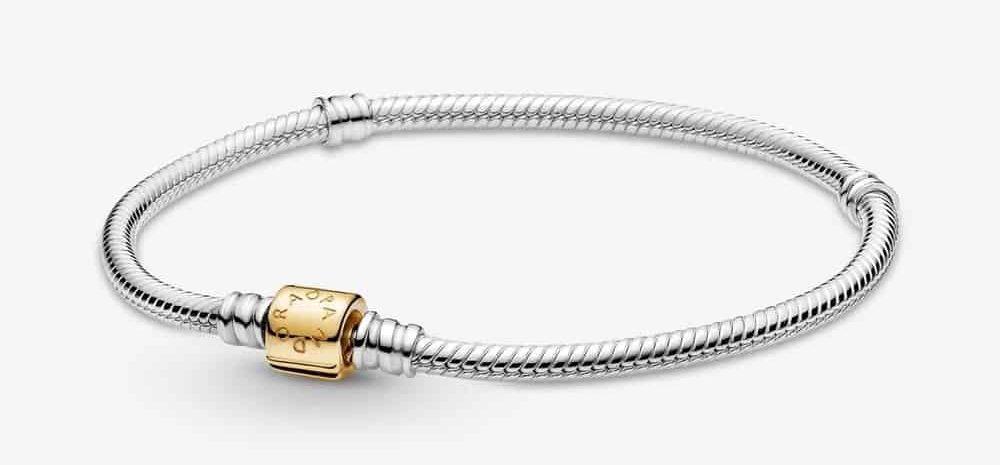 Bracelet Maille Serpent Fermoir à Tenon Bicolore Pandora Moments 299,00 € – 599347C00